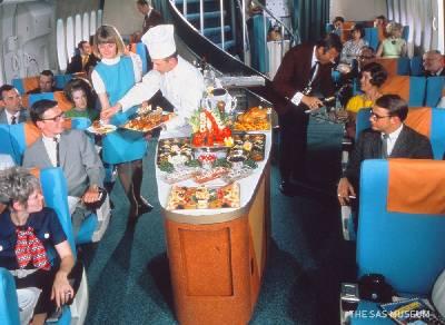 la comida de los aviones de antes