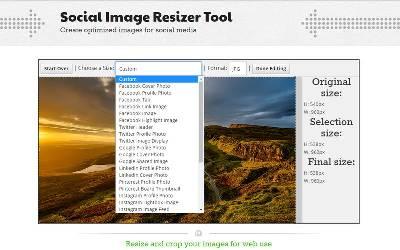 Crear imágenes para las Redes Sociales con Social Image Resizer Tool