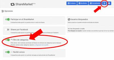 El blog de Bloguers. net: Filtro de categorías en el ShareMarket