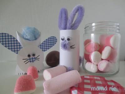 Conejitos de Pascua con Rollos de Cartón y otras variantes. Manualidades de Semana Santa para Niños