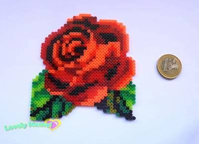 2-FLORES - Rosa Roja (Diseño Hama)
