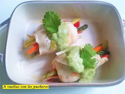 Merluza rellena al cilantro - microondas