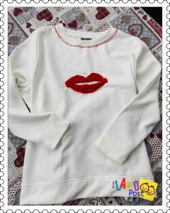 Aplique en crochet: labios rojos