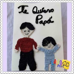 Tarjetas hechas a mano decoradas con apliques en crochet