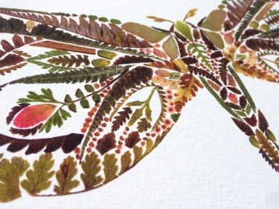 Arte con hojas secas prensadas