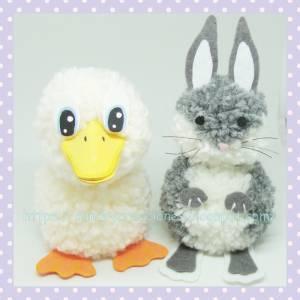 Animales con pompones: Conejo y Pato