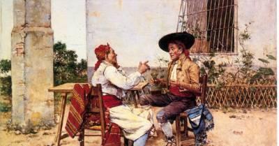 .: Joaquín Agrasot y Juan: Dos huertanos bebiendo vino - PINTORES VALENCIANOS