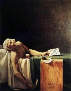 Arte Postal. La Muerte de Marat pintado por Jacques Louis David