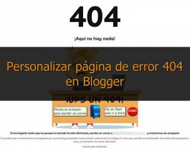 Personalizar y redirigir página de error 404 en Blogger