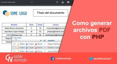 Como generar archivos PDF con PHP