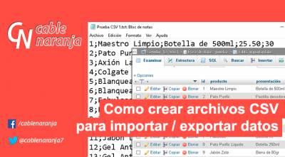 Como crear archivos CSV para importar / exportar datos