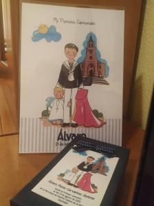 Recordatorios y detalles para los invitados de la Primera Comunión de Álvaro