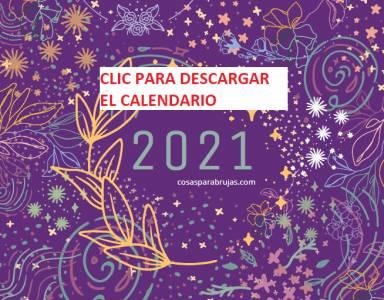 Calendario mágico de 2021 GRATIS listo para imprimir y los Sabbat del año