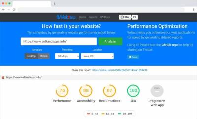 Websu: medir y optimizar la velocidad de carga de las páginas gratis