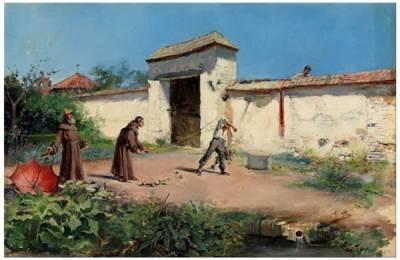 COSAS DE HISTORIA Y ARTE: Huerto con frailes y un ladronzuelo de Cecilio Pla y Gallardo