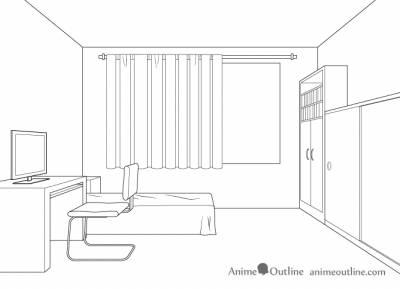 Tutorial de dibujo de la sala en perspectiva de un punto: paso a paso