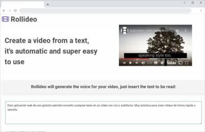 Rollideo: web gratuita para convertir textos en vídeos con voz y subtítulos